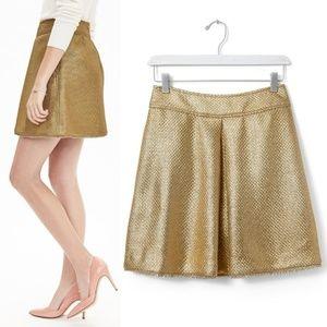 Banana Republic Gold Tweed Inverted-pleat Skirt